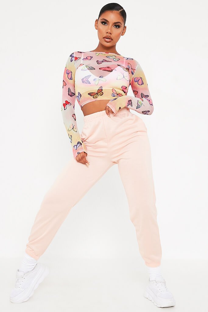 Multi Mesh Butterfly Print Long Sleeve Top view 2