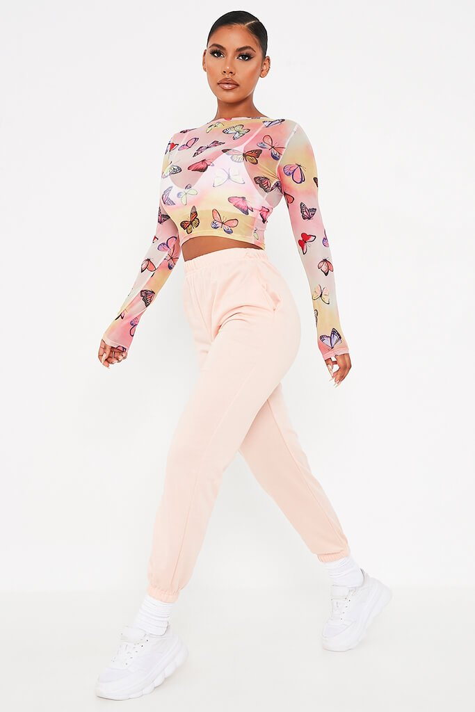 Multi Mesh Butterfly Print Long Sleeve Top view 3