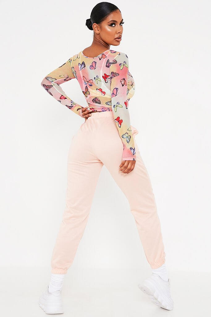 Multi Mesh Butterfly Print Long Sleeve Top view 4