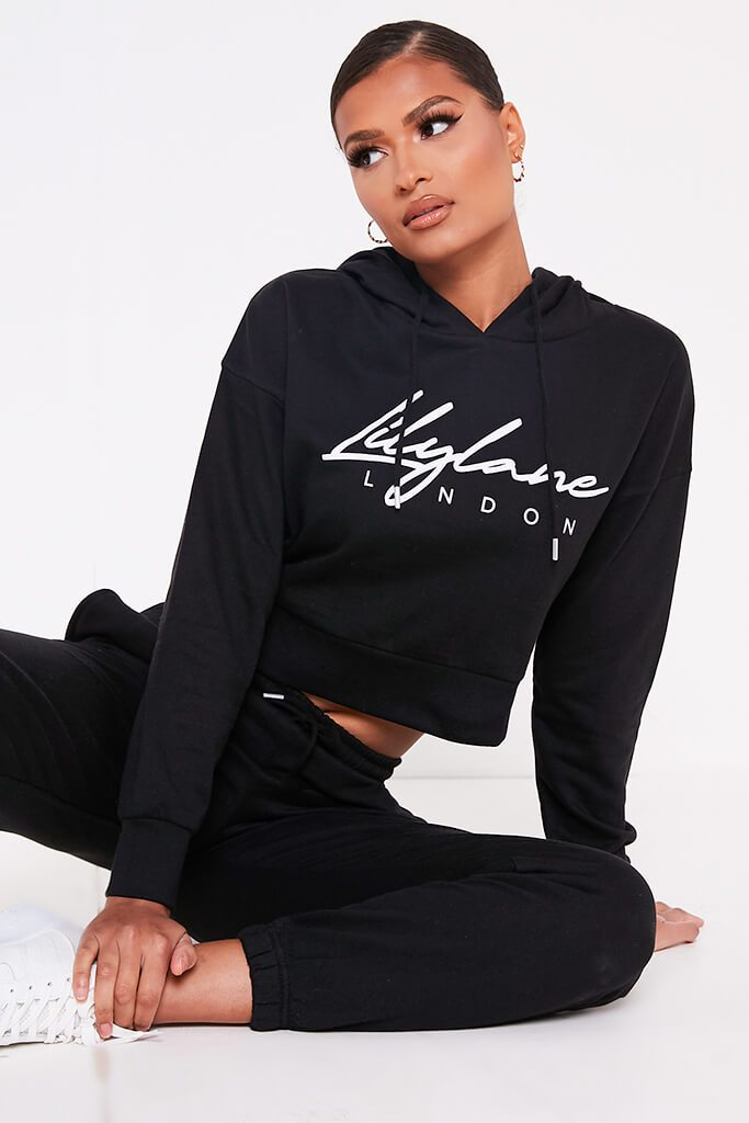 Black Recycled Lilylane London Cropped Hoodie view main view