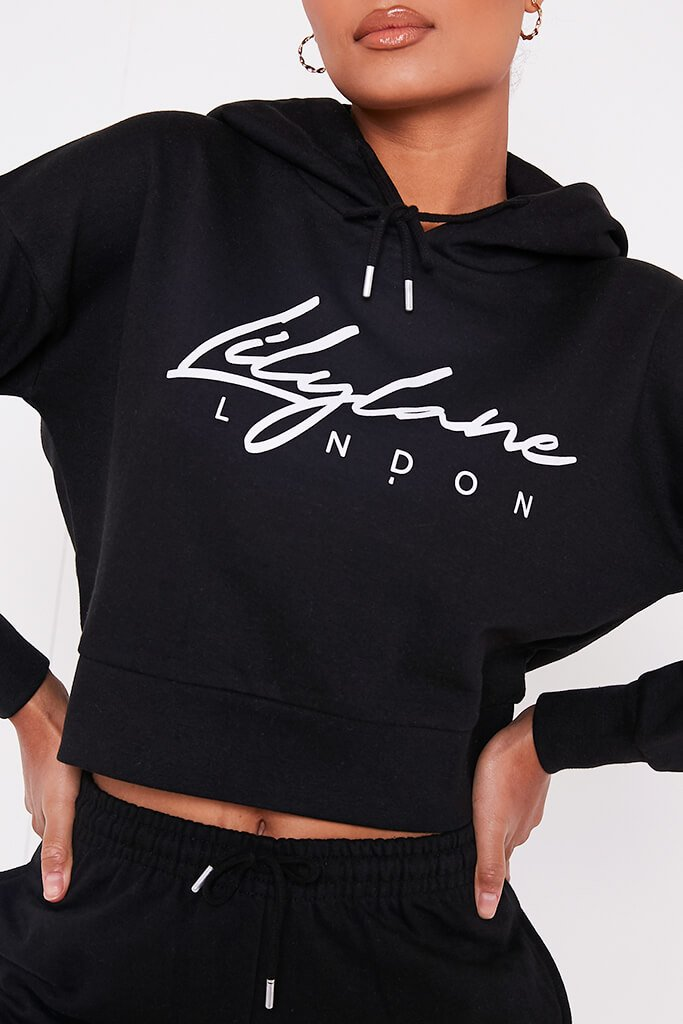Black Recycled Lilylane London Cropped Hoodie view 4