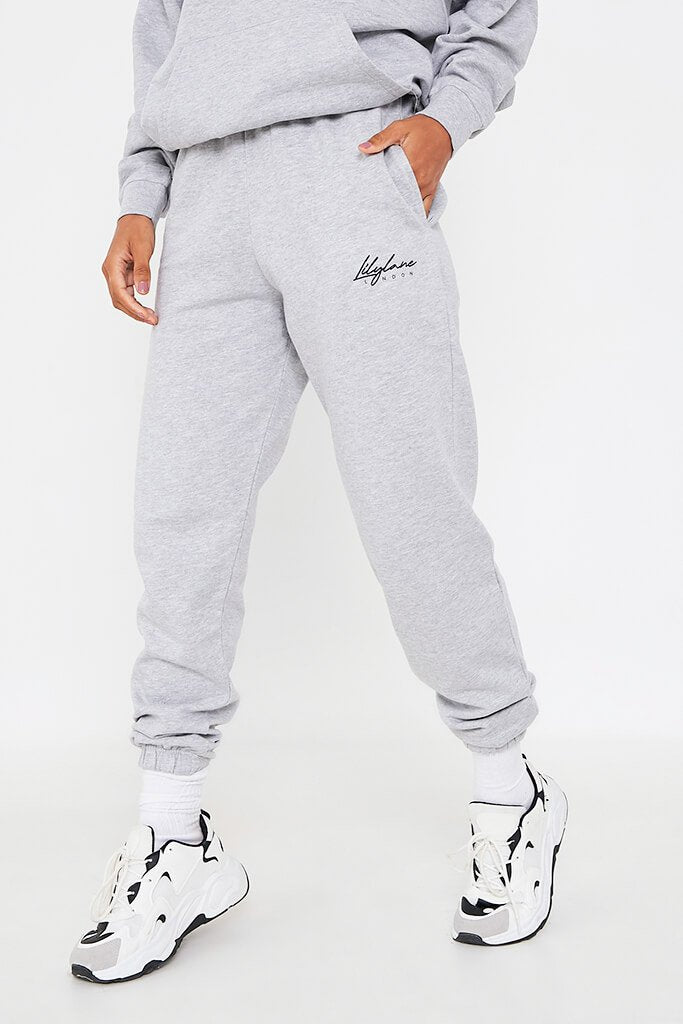 Grey Marl Recycled Lilylane London Joggers view 2