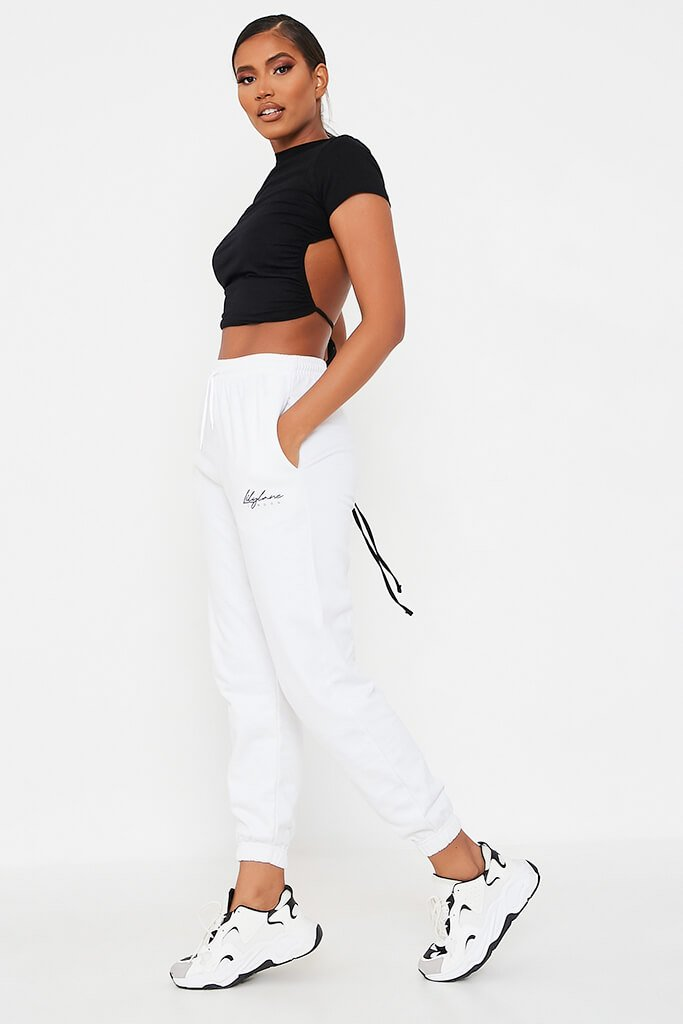 White Recycled Lilylane London Joggers view 3