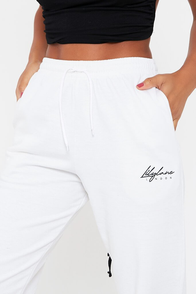 White Recycled Lilylane London Joggers view 4