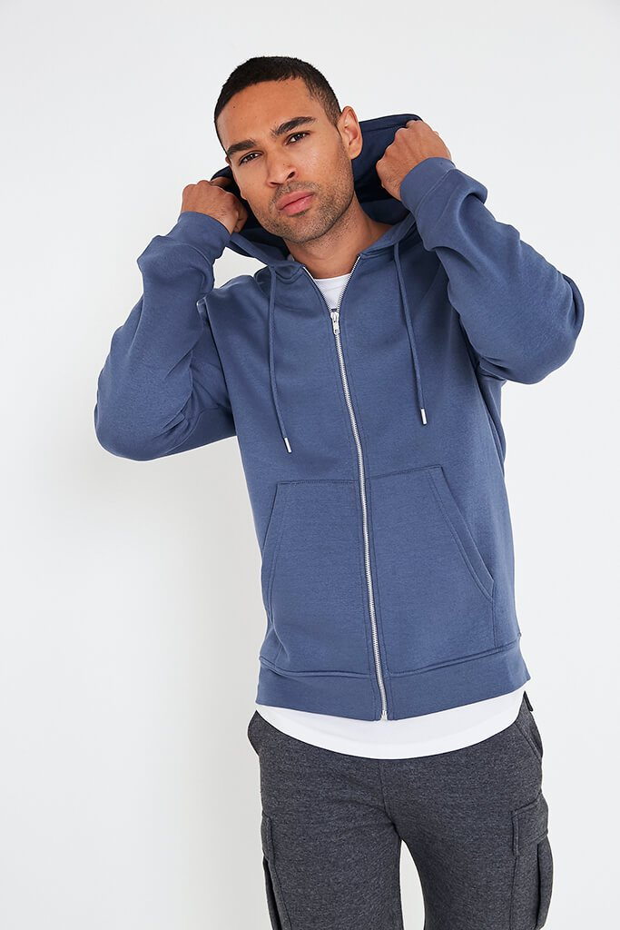 Blue Men's Recycled Zip Up Hoodie view main view