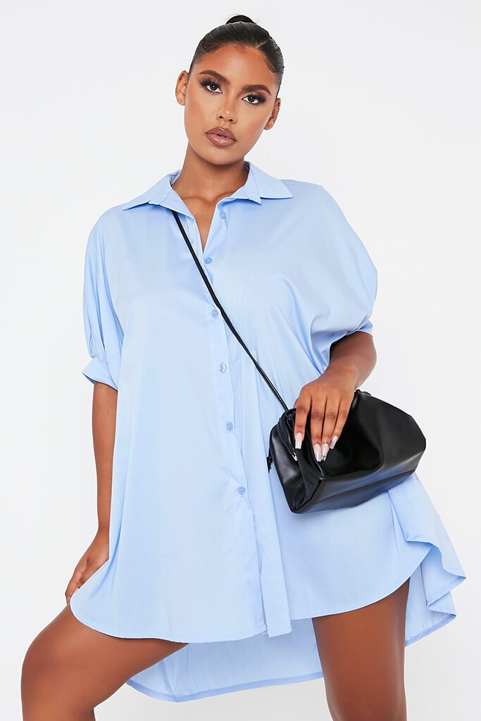 Baby Blue Oversized Shirt Dress view main view