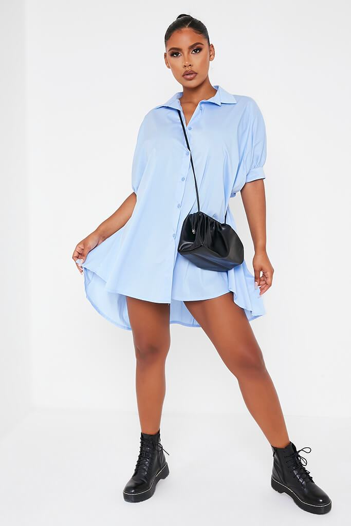 Baby Blue Oversized Shirt Dress view 2