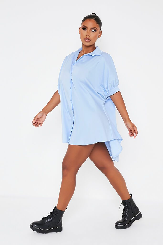 Baby Blue Oversized Shirt Dress view 3