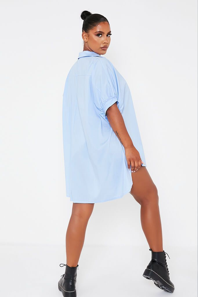 Baby Blue Oversized Shirt Dress view 4