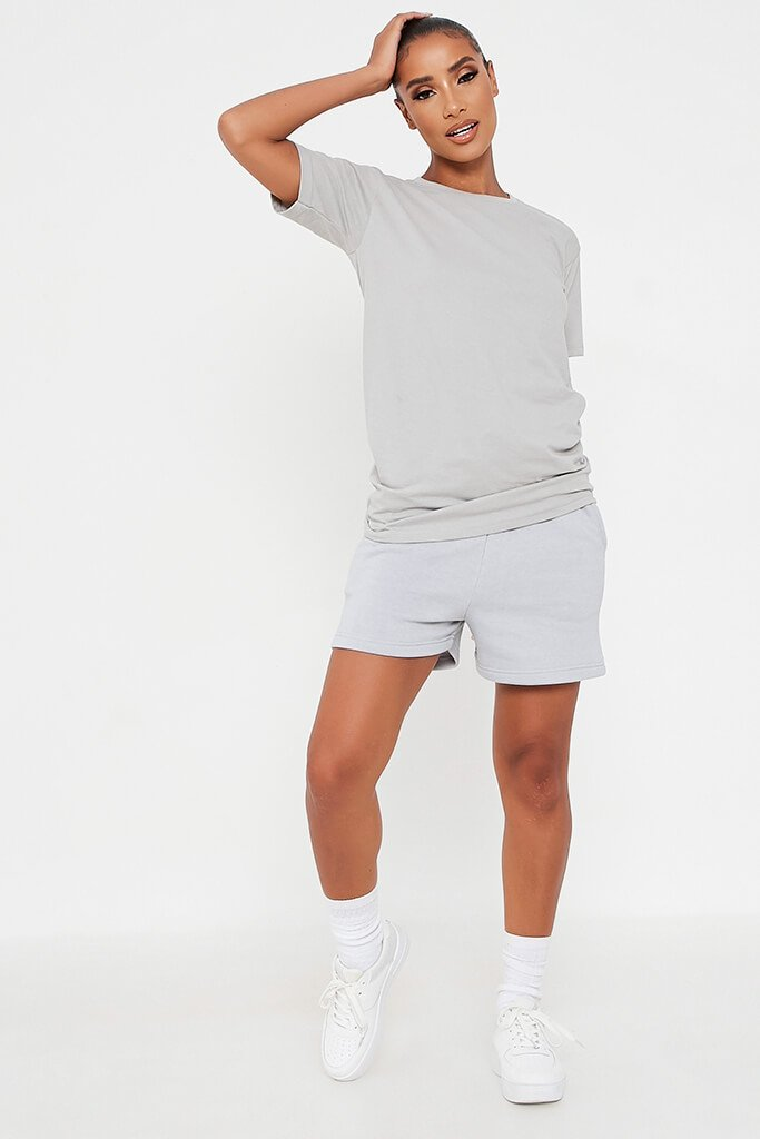 Grey Basic Oversized T-Shirt view 2