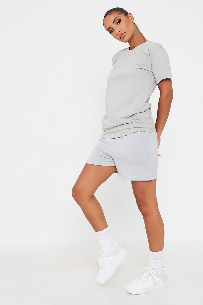 Grey Basic Oversized T-Shirt view 3