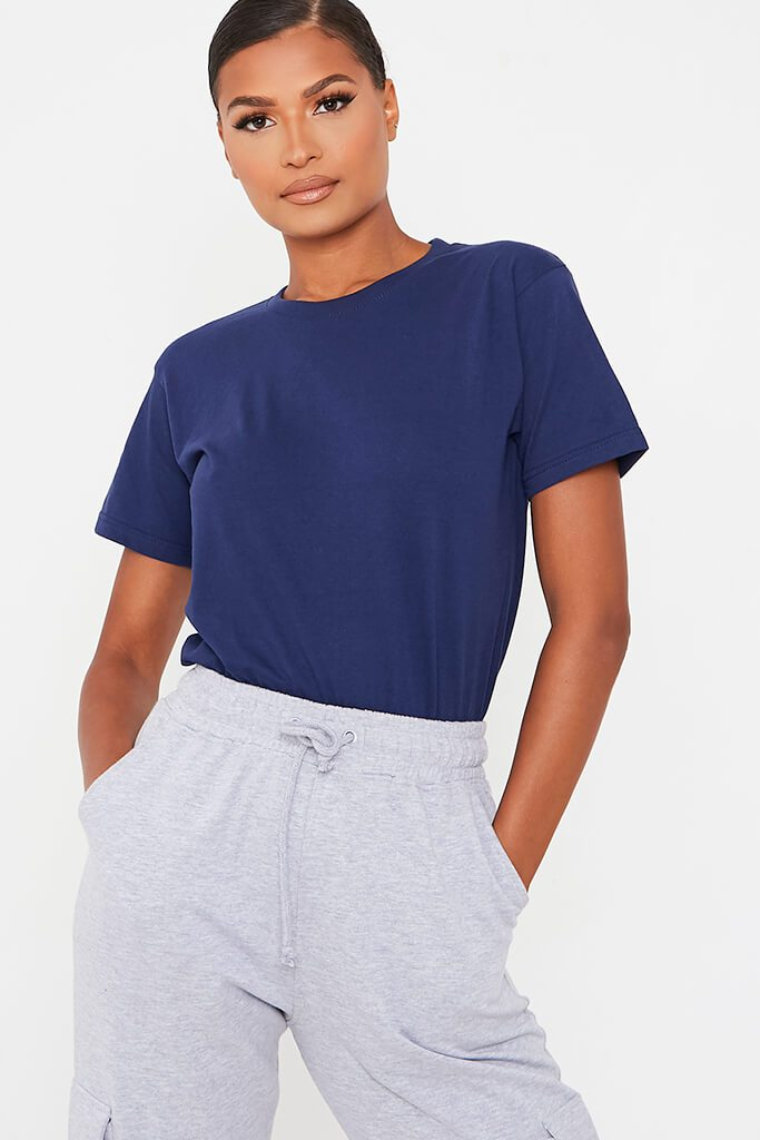 Dark Blue Basic Oversized Crew Neck T Shirt