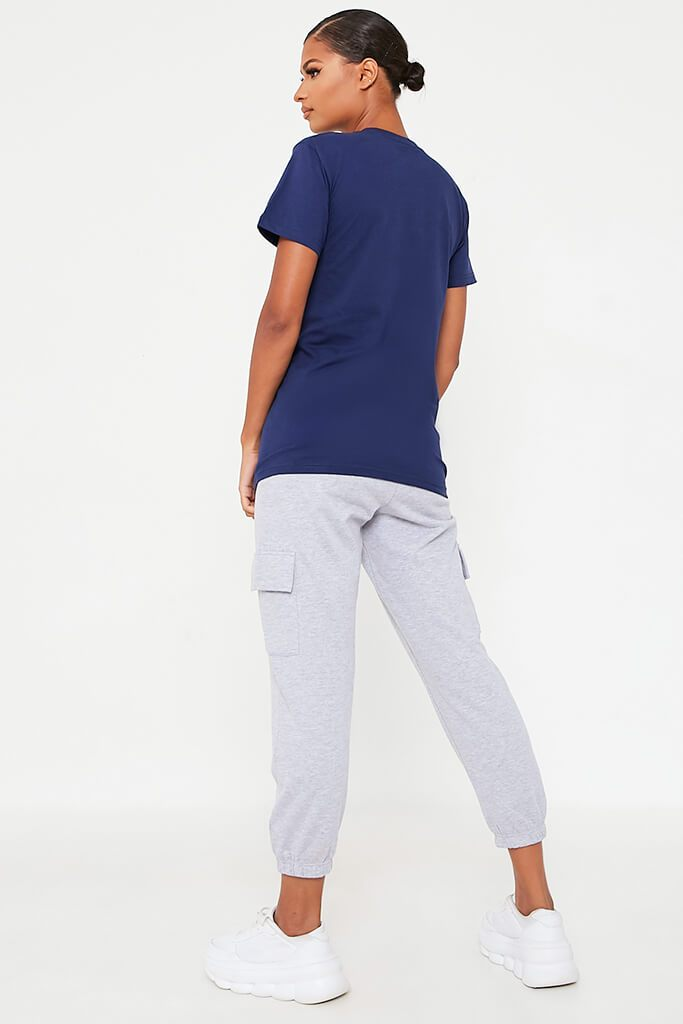 Dark Blue Basic Oversized Crew Neck T Shirt view 4