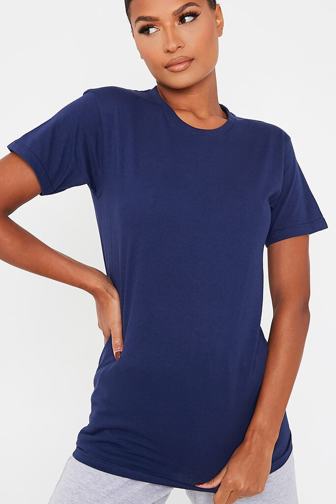 Dark Blue Basic Oversized Crew Neck T Shirt view 5