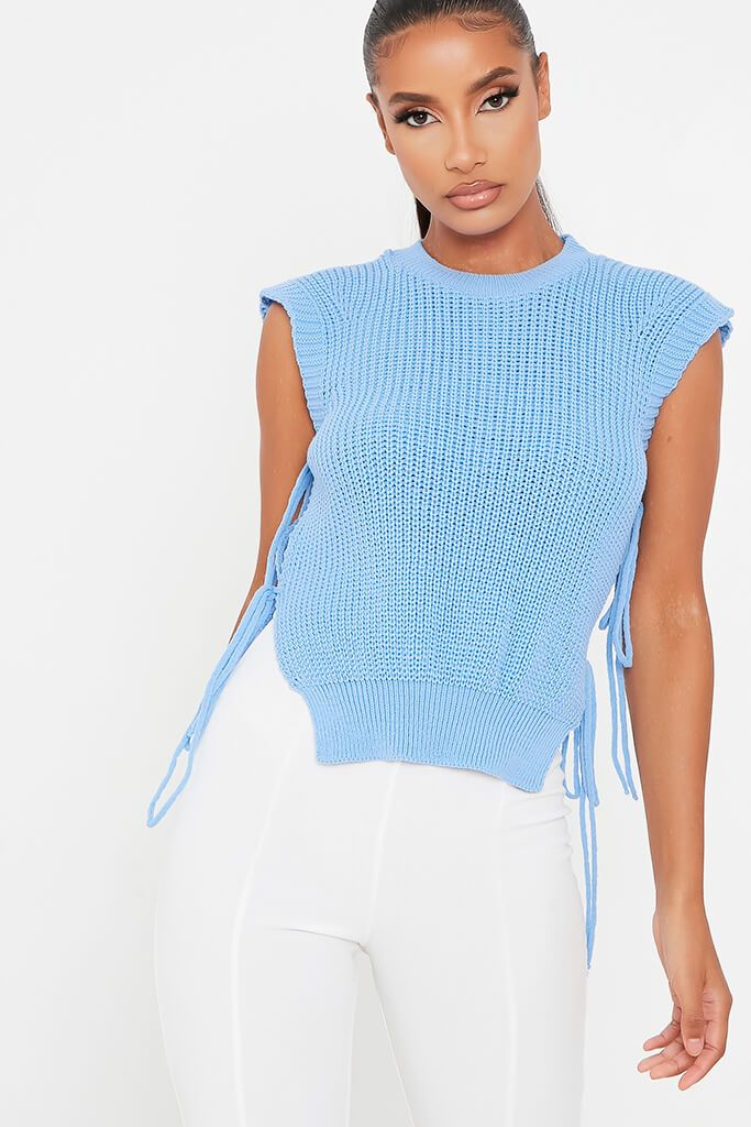 Blue Tie Side Sleeveless Knitted Top