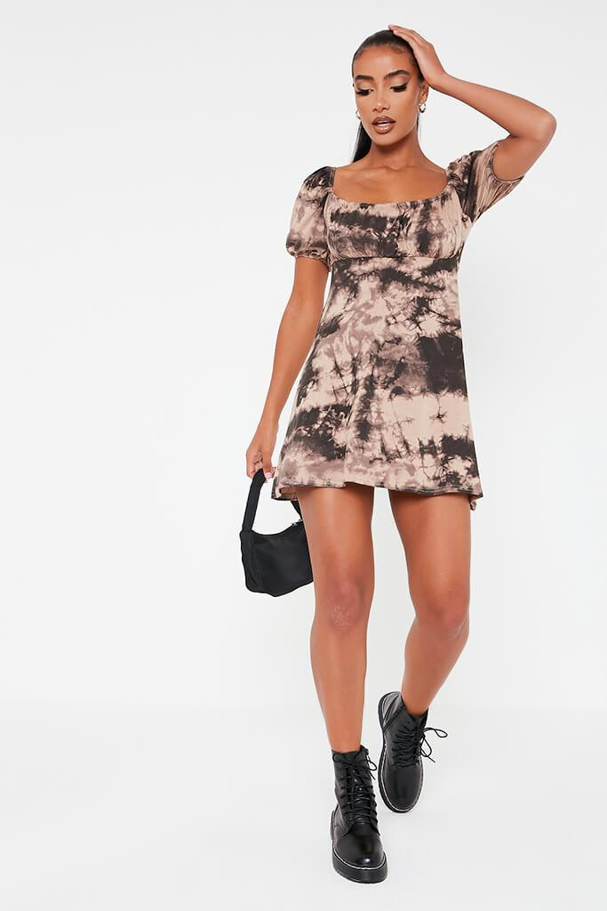 Taupe Jersey Tie Dye Puff Sleeve Tea Dress view 2
