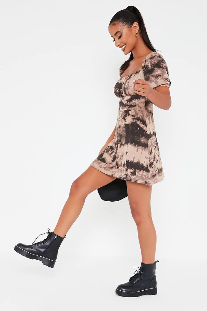 Taupe Jersey Tie Dye Puff Sleeve Tea Dress view 3