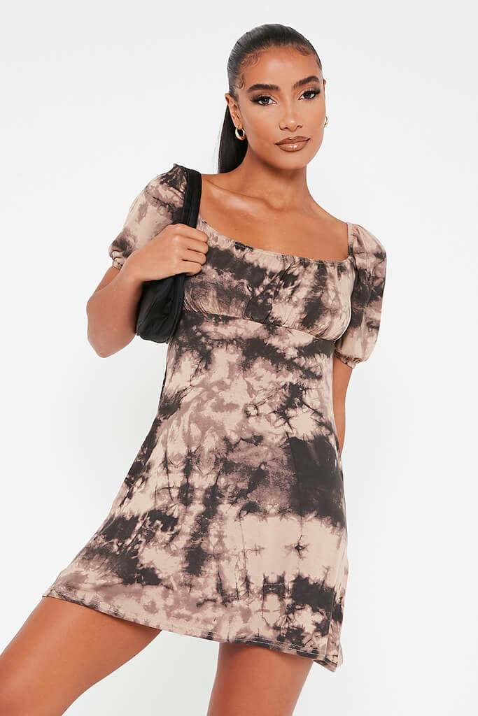 Taupe Jersey Tie Dye Puff Sleeve Tea Dress view main view