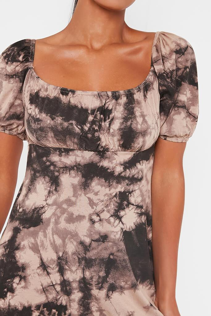 Taupe Jersey Tie Dye Puff Sleeve Tea Dress view 4