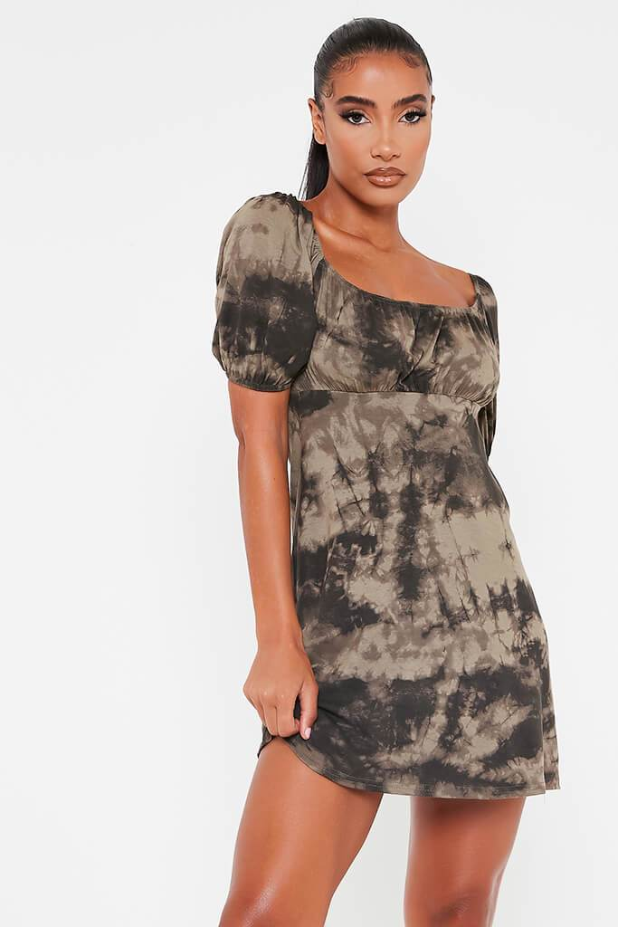 Khaki Jersey Tie Dye Puff Sleeve Tea Dress