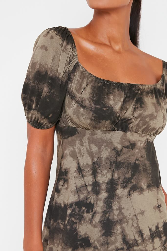 Khaki Jersey Tie Dye Puff Sleeve Tea Dress view 4