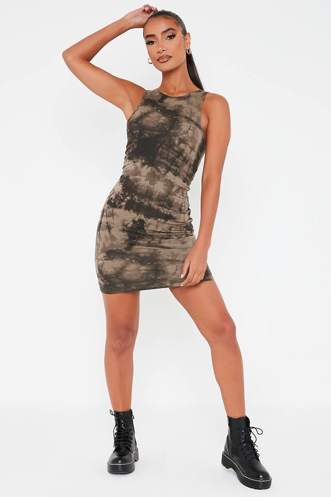 Khaki Double Layer Jersey Tie Dye Racer Neck Bodycon Dress view 2