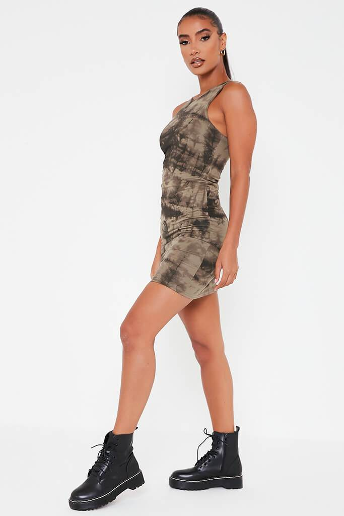 Khaki Double Layer Jersey Tie Dye Racer Neck Bodycon Dress view 3