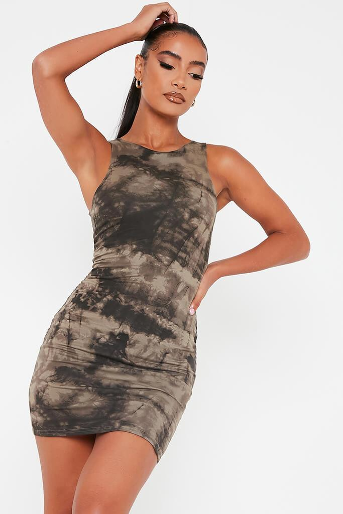Khaki Double Layer Jersey Tie Dye Racer Neck Bodycon Dress
