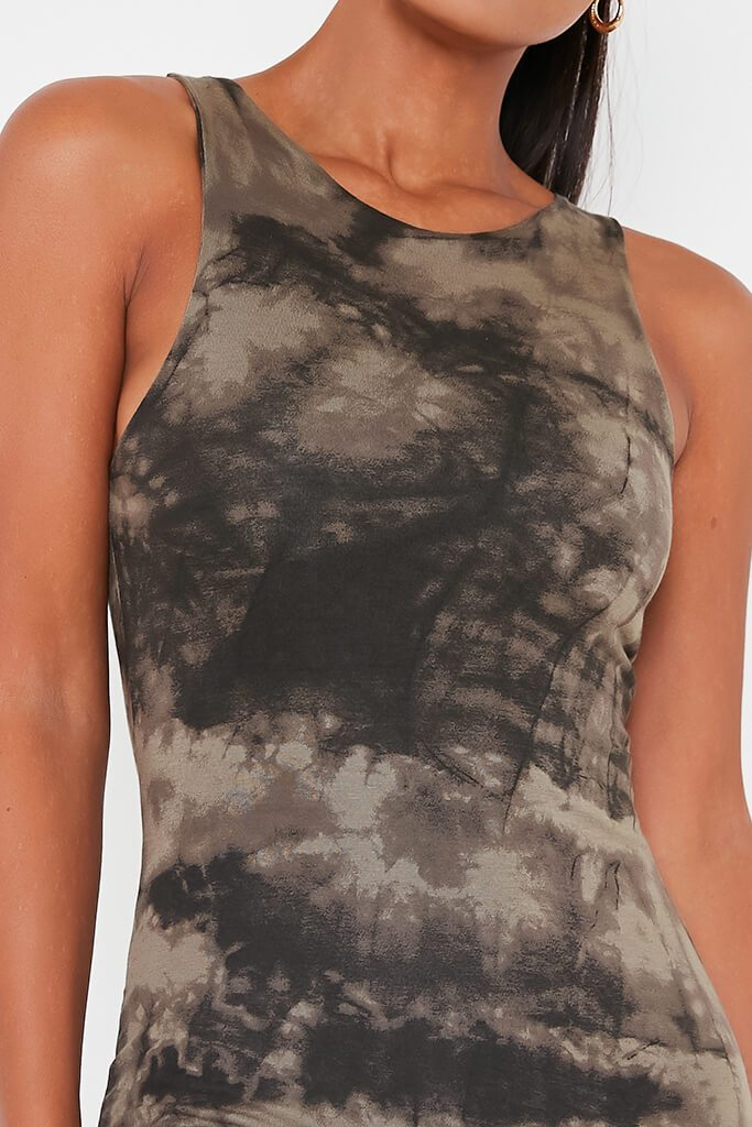 Khaki Double Layer Jersey Tie Dye Racer Neck Bodycon Dress view 4
