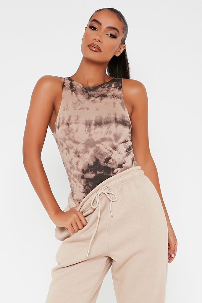 Taupe Double Layer Jersey Tie Die Racer Neck Bodysuit view 2