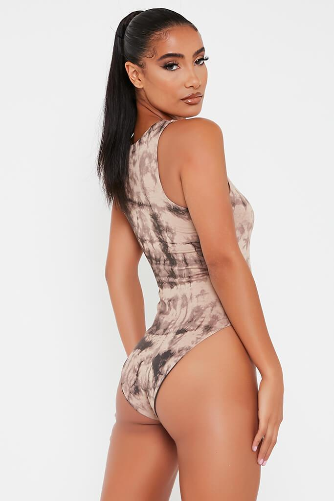 Taupe Double Layer Jersey Tie Die Racer Neck Bodysuit view 4