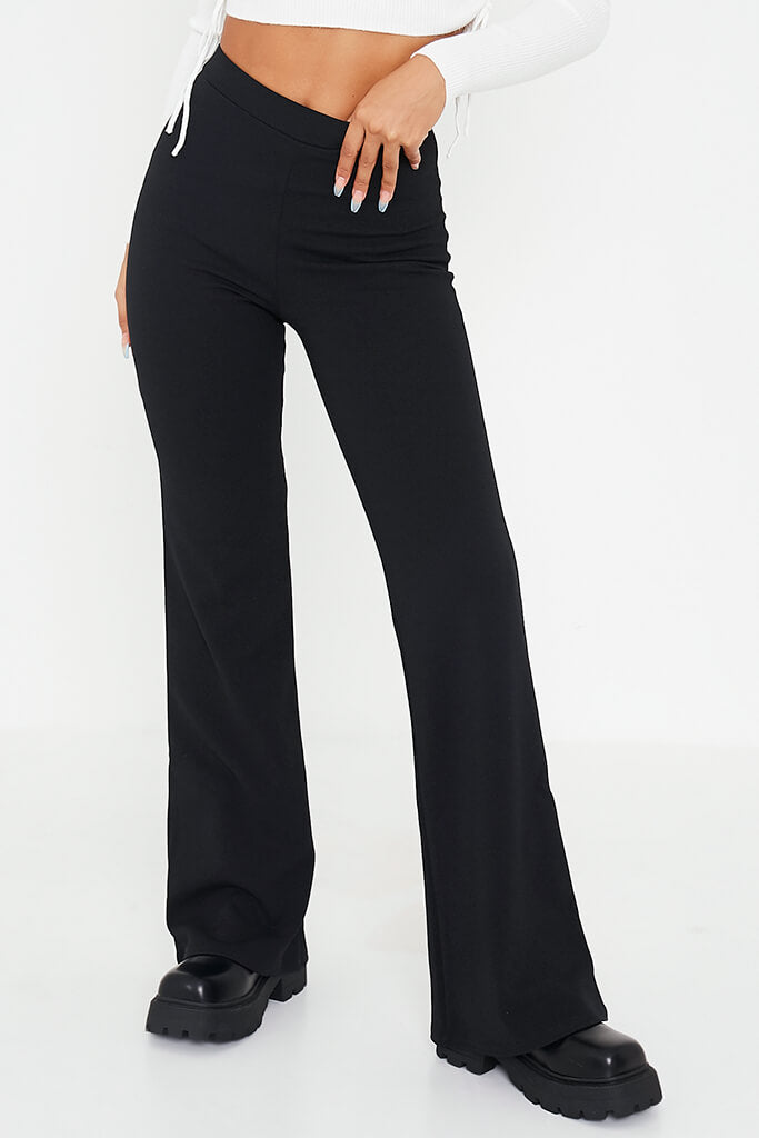 Black Wide Leg High Waisted Trousers view 2