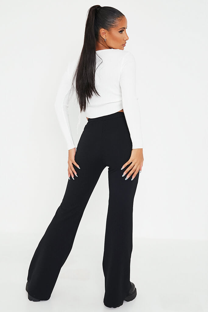 Black Wide Leg High Waisted Trousers view 4