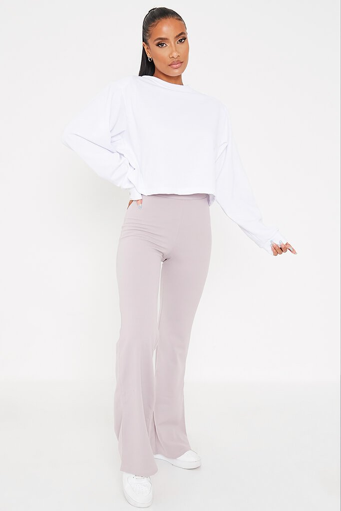 Silver Grey Wide Leg High Waisted Trousers