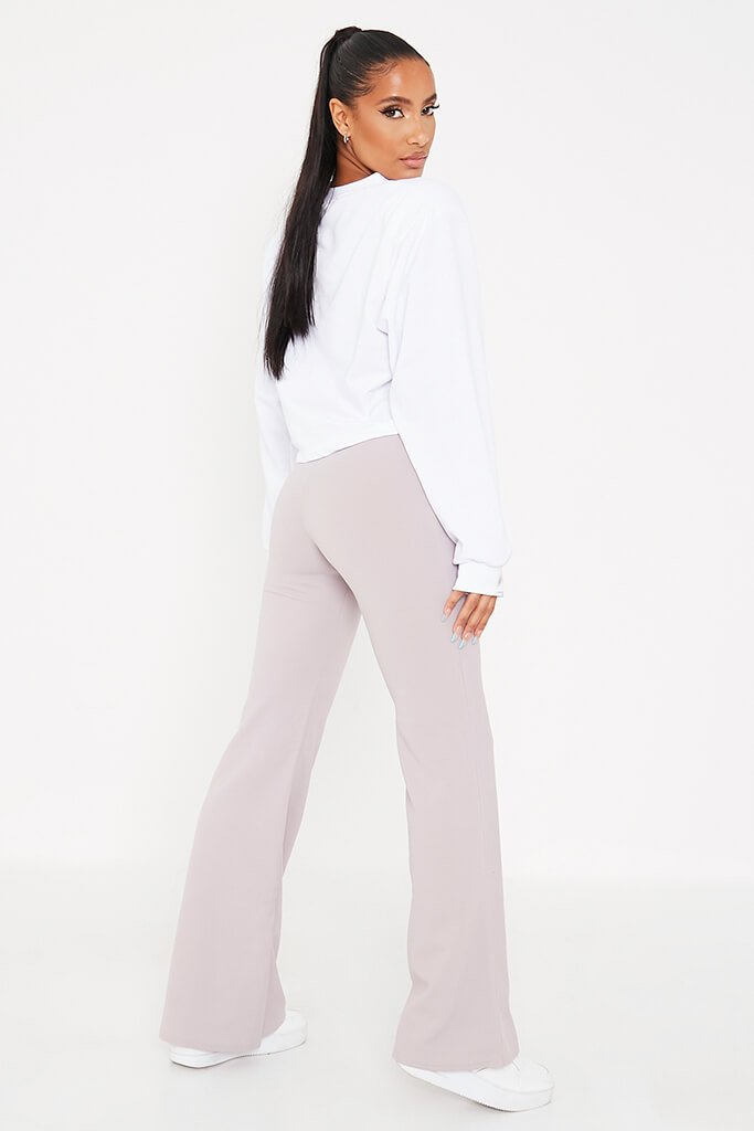 Silver Grey Wide Leg High Waisted Trousers view 4