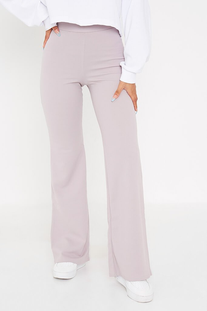 Silver Grey Wide Leg High Waisted Trousers view 2
