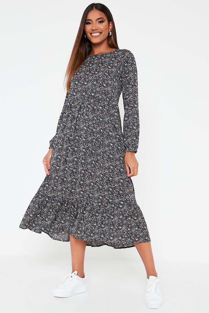 Green Woven Long Sleeve Floral Printed Midi Smock Dress