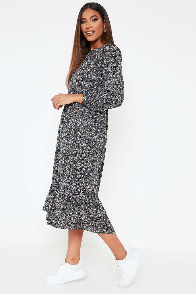 Green Woven Long Sleeve Floral Printed Midi Smock Dress view 3