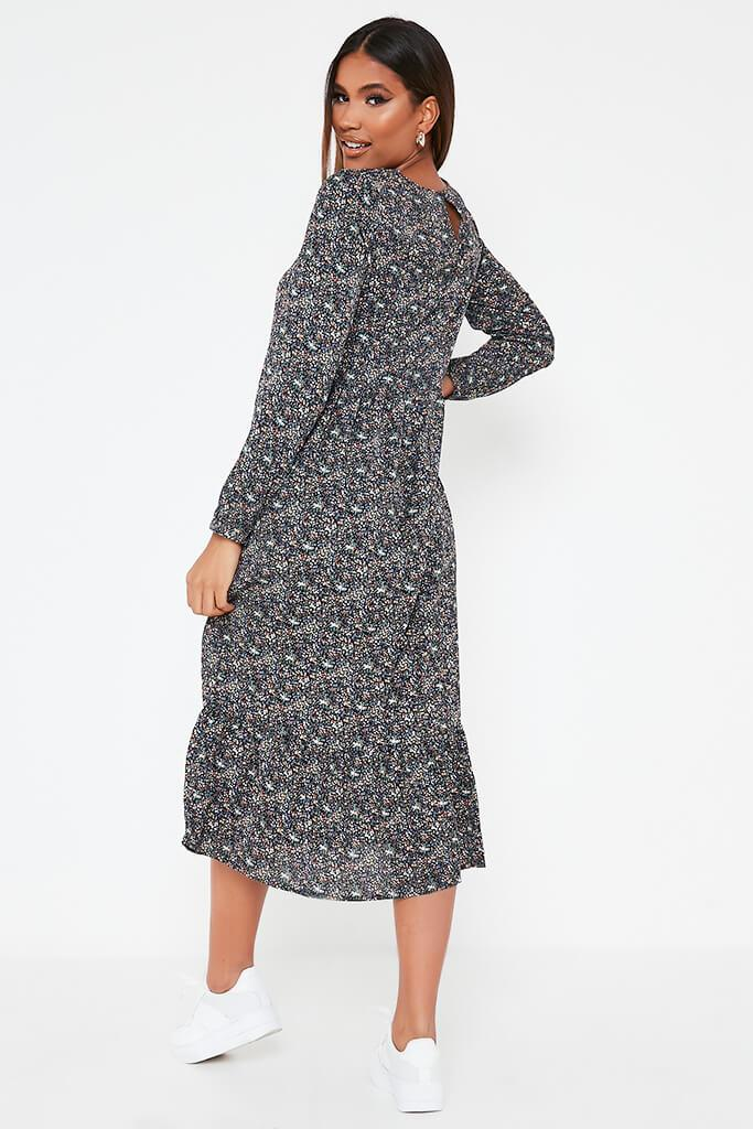 Green Woven Long Sleeve Floral Printed Midi Smock Dress view 5