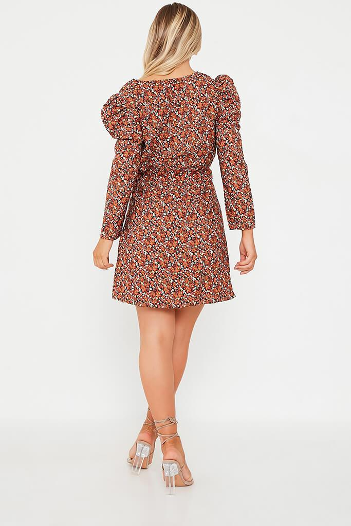 Brown Woven Tile Print Puff Sleeve Wrap Front Tea Dress view 4