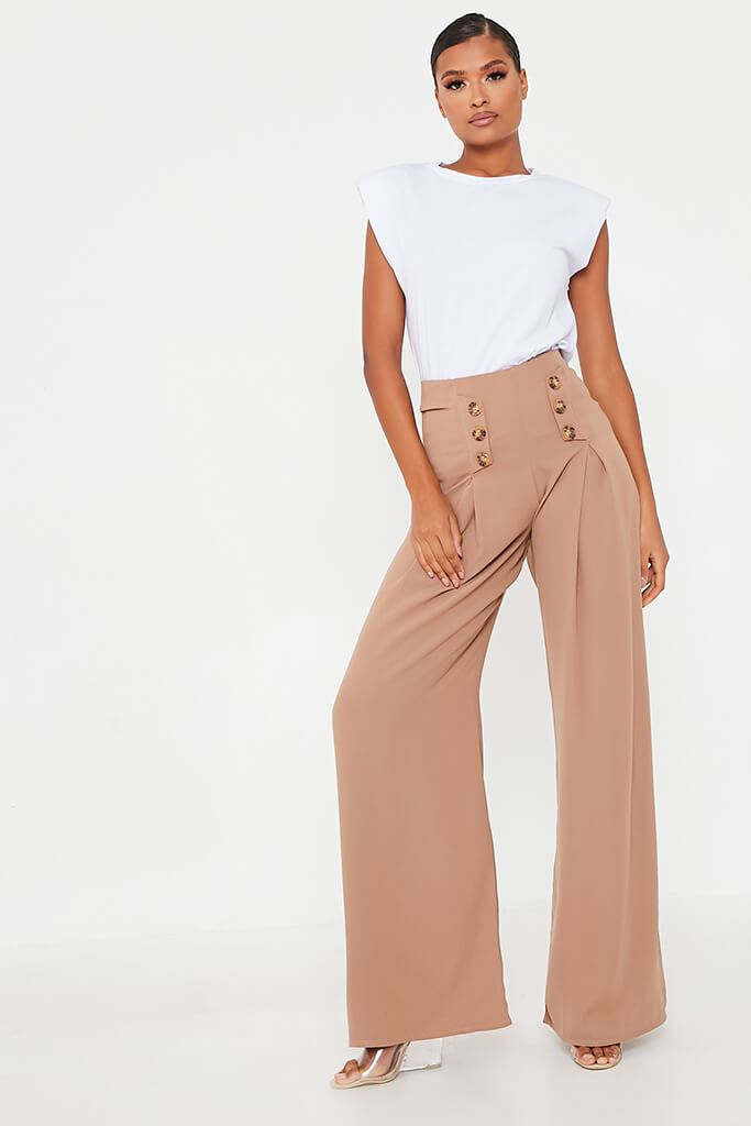 Stone High Waisted Wide Leg Button Detailed Trousers