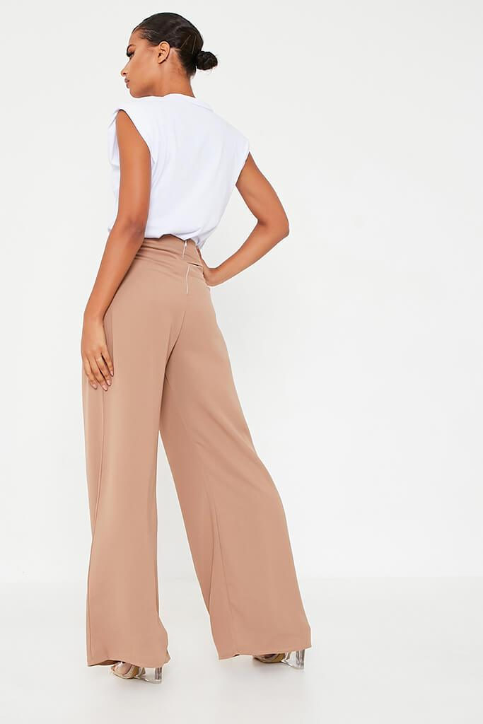 Stone High Waisted Wide Leg Button Detailed Trousers view 3