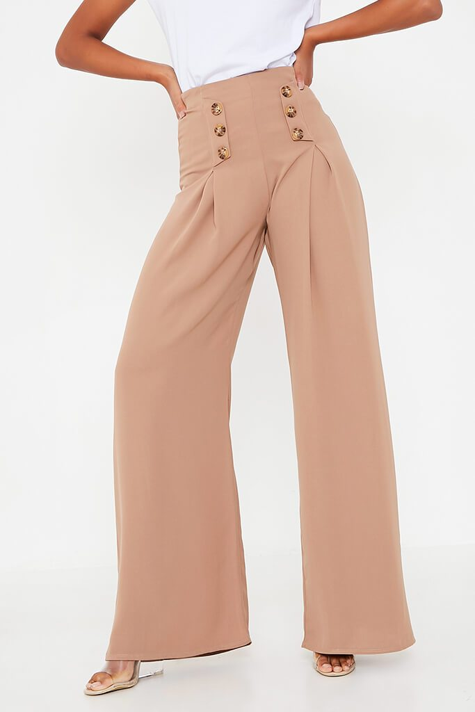 Stone High Waisted Wide Leg Button Detailed Trousers view 4