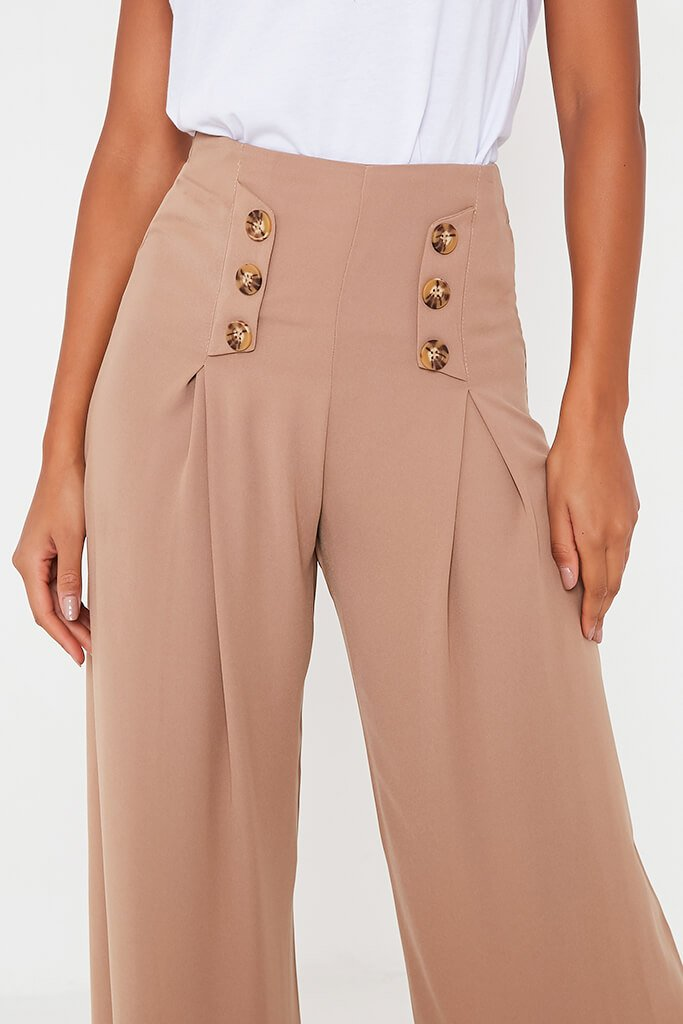 Stone High Waisted Wide Leg Button Detailed Trousers view 5