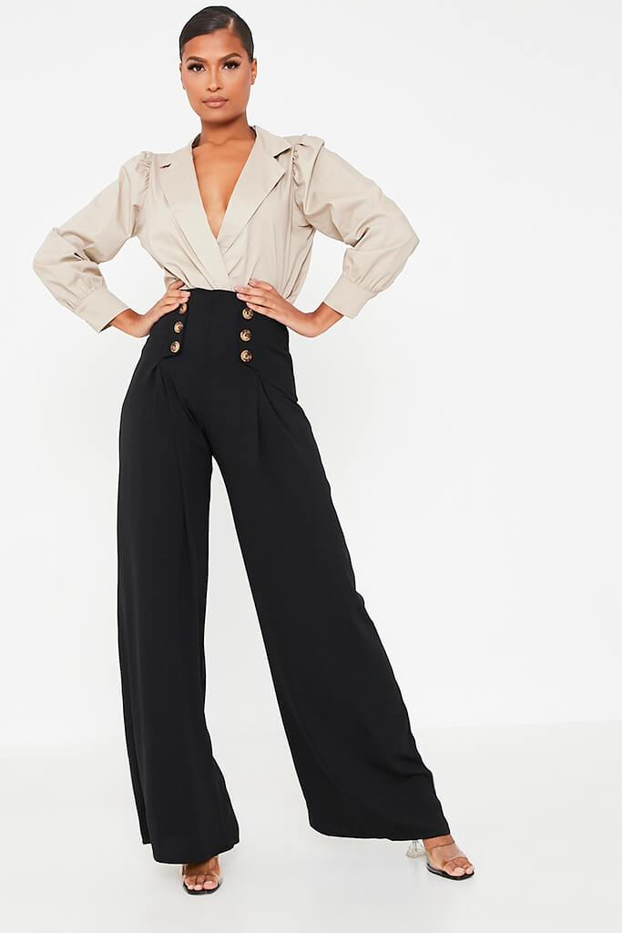Black High Waisted Wide Leg Button Detailed Trousers