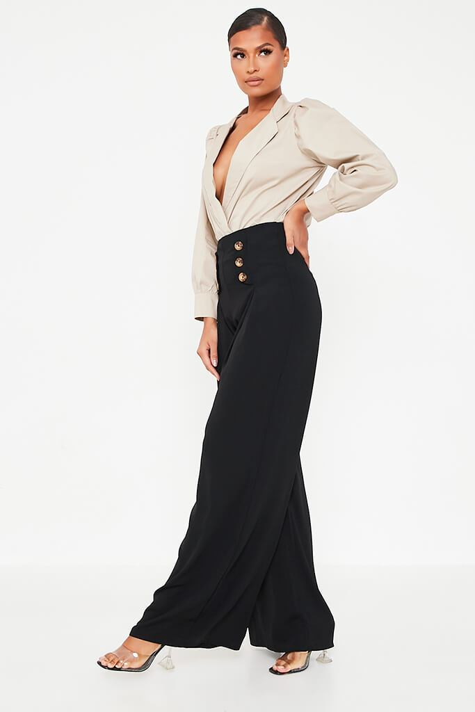 Black High Waisted Wide Leg Button Detailed Trousers view 3