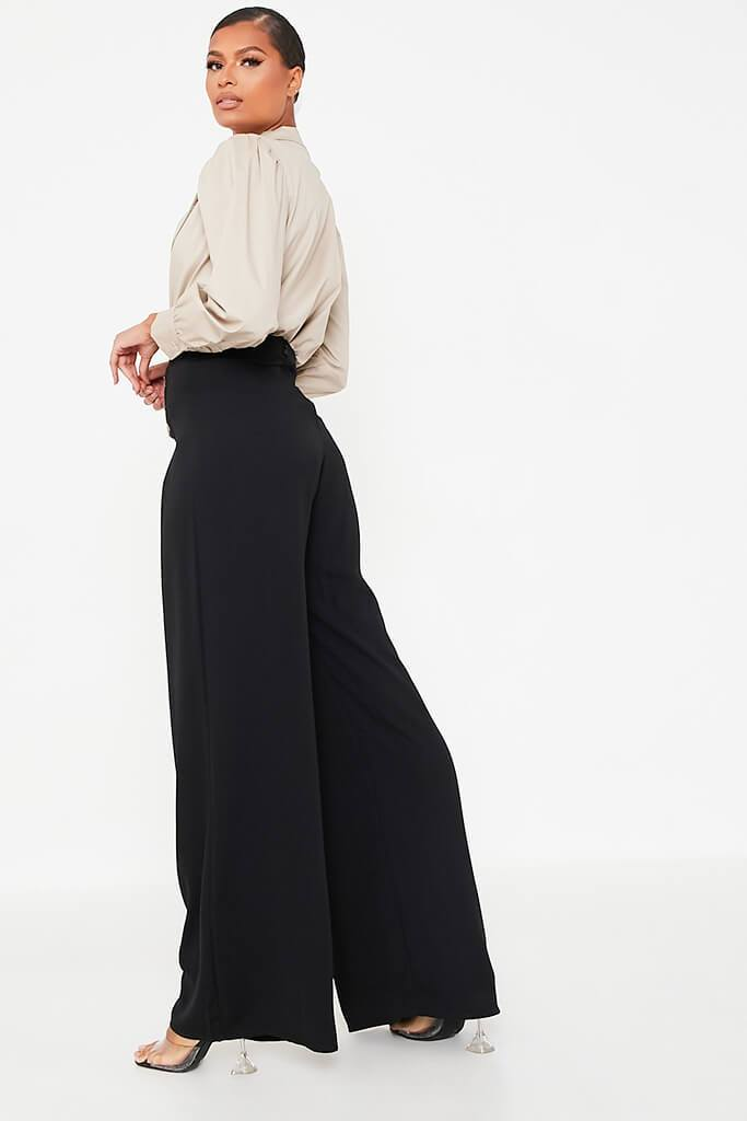 Black High Waisted Wide Leg Button Detailed Trousers view 4