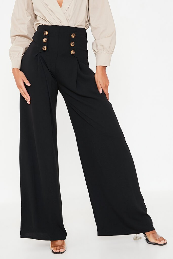 Black High Waisted Wide Leg Button Detailed Trousers view 2