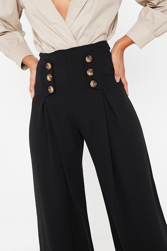 Black High Waisted Wide Leg Button Detailed Trousers view 5