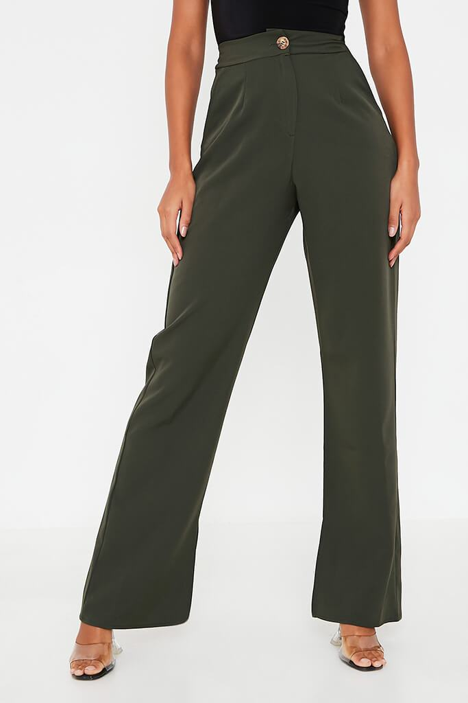 Khaki High Waisted Seam Split Wide Leg Trousers view 4